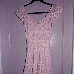 Pink ruffle tea dress